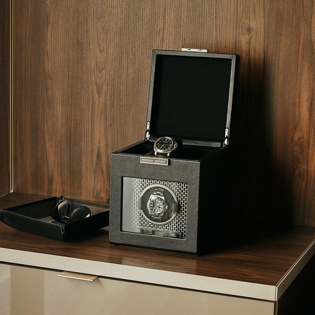 Brooklyn Single Watch Winder with Storage in Black Finish in Closet Space