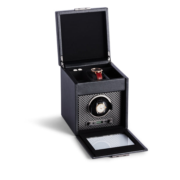 Brooklyn Single Watch Winder with Storage in Black Finish