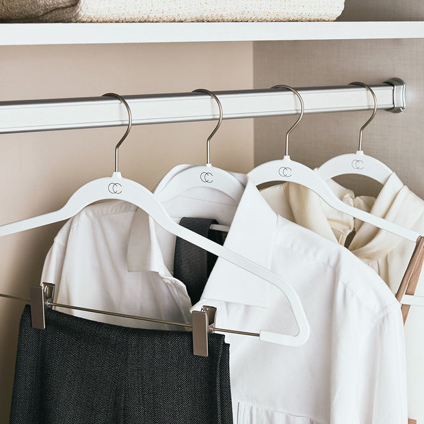 Space Saving Nonslip White Finish suit Hangers with Accessory Bar in Closet Space