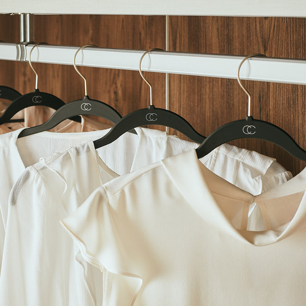 Space Saving Nonslip Black Finish Suit Hangers with Clips in Closet Space