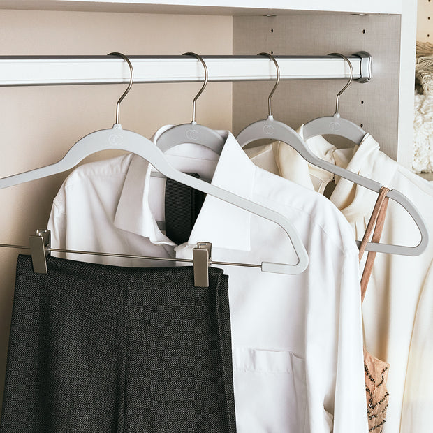 Space Saving Nonslip Grey Finish Suit Hangers with Clips in Closet Space