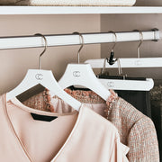 Premium Nonslip White Finish Hangers in Closet Space