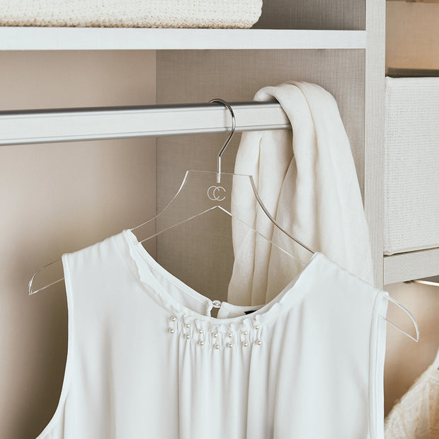 Clear Acrylic Shirt Hanger in Closet by California Closets Essentials