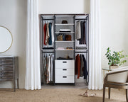 Example of Everyday System Closet in White Woodgrain with Graphite Metal | California Closets