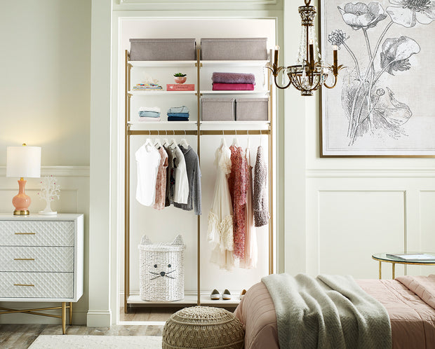 Example of Everyday System Closet in Perry Street White Woodgrain with Gold Metal | California Closets