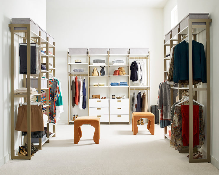 Example of Everyday System Walk-in Closet in White Woodgrain and Gold Metal | California Closets