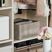 Small Grove Storage Bin in Grey Chevron Finish in Organized Closet