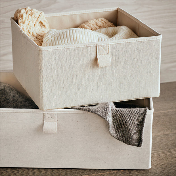 Medium Grove Storage Bin in Solid Ivory Finish