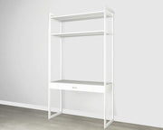 Everyday 4ft Home Office System in Perry St. White Woodgrain with White Metal | California Closets