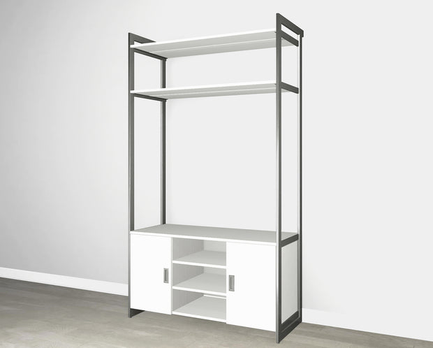 Everyday 4ft Media & Storage System in Perry St. White Woodgrain with Graphite Metal | California Closets