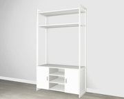 Everyday 4ft Media & Storage System in Perry St. White Woodgrain with White Metal | California Closets