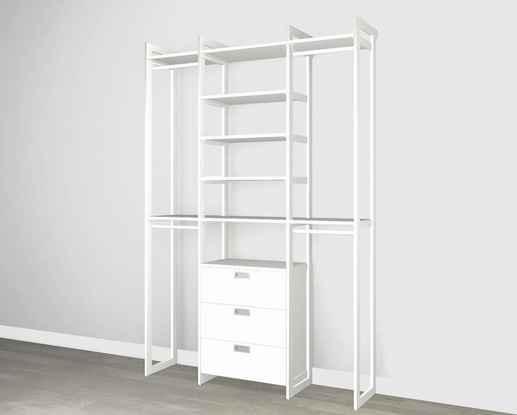 Everyday 5ft Hanging & 3 Drawer Cabinet System in Perry St. White Woodgrain with White Metal | California Closets