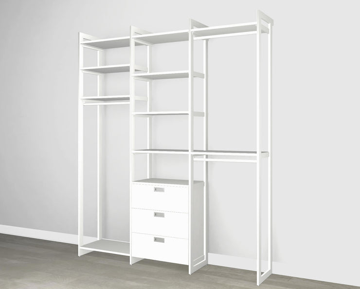 Everyday 6ft Hanging & 3 Drawer Cabinet System in Perry St. White Woodgrain with White Metal | California Closets