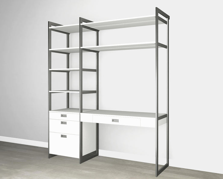 Everyday 6ft Home Office & Storage System in Perry St. White Woodgrain with Graphite Metal | California Closets
