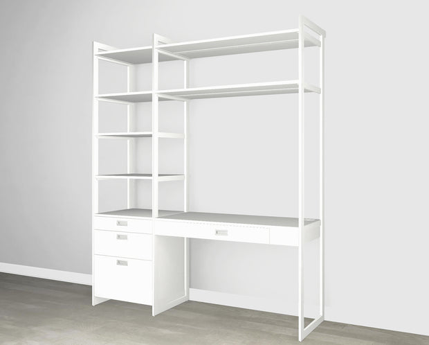 Everyday 6ft Home Office & Storage System Perry St. White Woodgrain with White Metal | California Closets