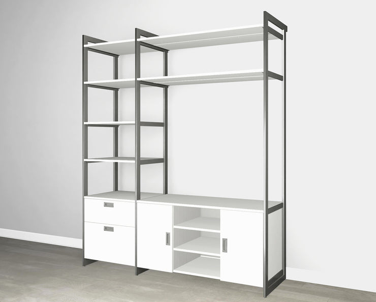 Everyday 6ft Media & Storage System in Perry St. White Woodgrain with Graphite Metal | California Closets