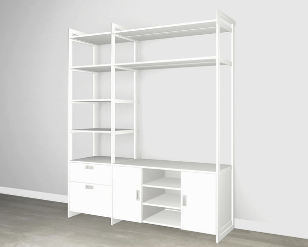 Everyday 6ft Media & Storage System in Perry St. White Woodgrain with White Metal | California Closets