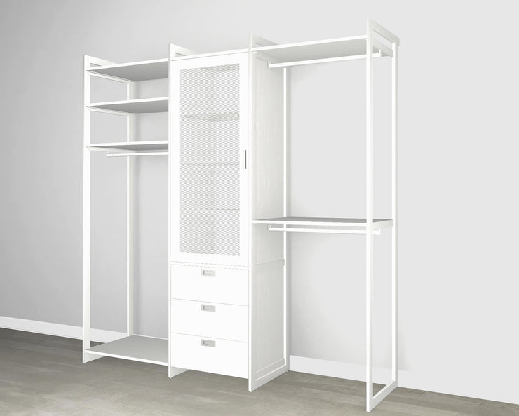 Everyday 7ft Hanging & 3 Drawer Cabinet with Door Cabinet System in Perry St. White Woodgrain with White Metal | California Closets