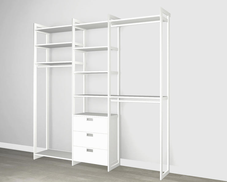 Everyday 7ft Hanging & 3 Drawer Cabinet System in Perry St. White Woodgrain with White Metal | California Closets