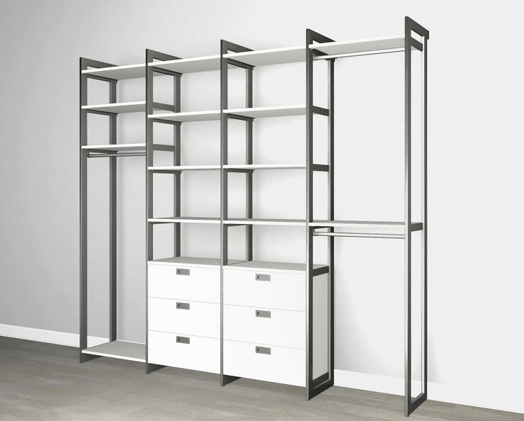 Everyday 8ft Hanging & 6 Drawer Cabinet System in Perry St. White Woodgrain with Graphite Metal | California Closets