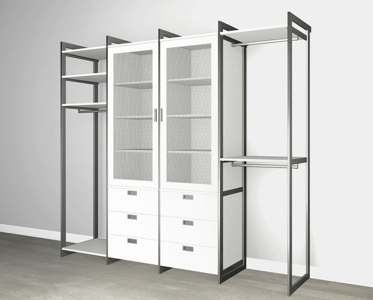 Everyday 8ft Hanging & 6 Drawer Cabinet with 2 Door Cabinet System in Perry St. White Woodgrain with Graphite Metal | California Closets