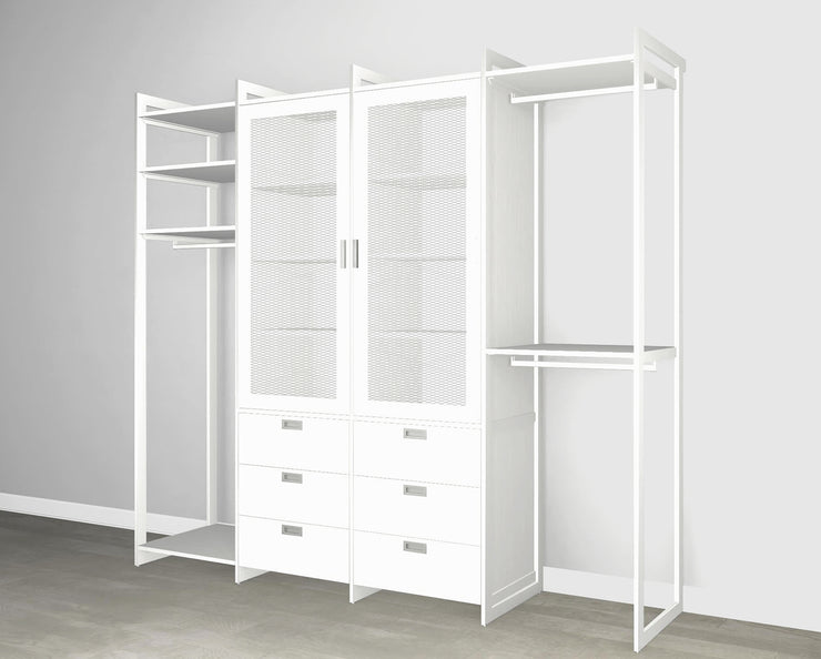 Everyday 8ft Hanging & 6 Drawer Cabinet with 2 Door Cabinet System in Perry St. White Woodgrain with White Metal | California Closets