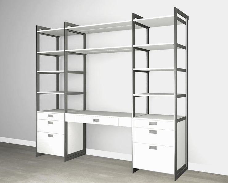 Everyday 8ft Home Office & Storage System in Perry St. White Woodgrain with Graphite Metal | California Closets