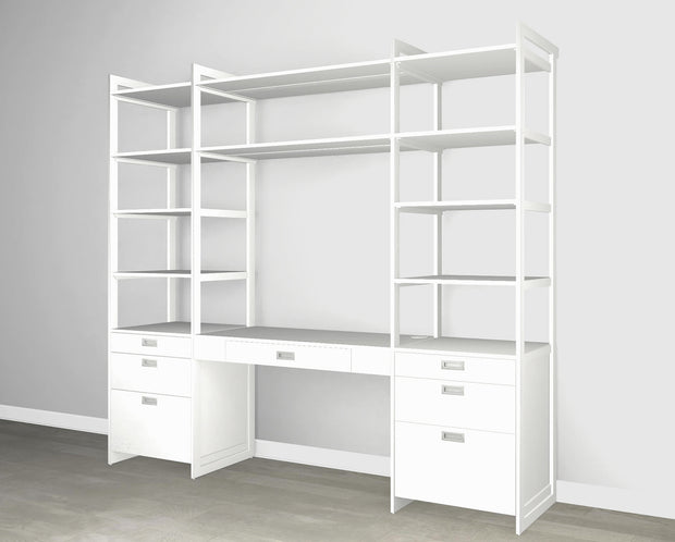Everyday 8ft Home Office & Storage System in Perry St. White Woodgrain with White Metal | California Closets