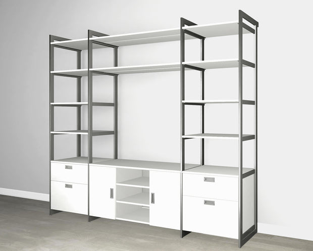 Everyday 8ft Media & Storage System in Perry St. White Woodgrain with Graphite Metal | California Closets