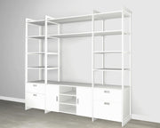 Everyday 8ft Media & Storage System in Perry St. White Woodgrain with White Metal | California Closets