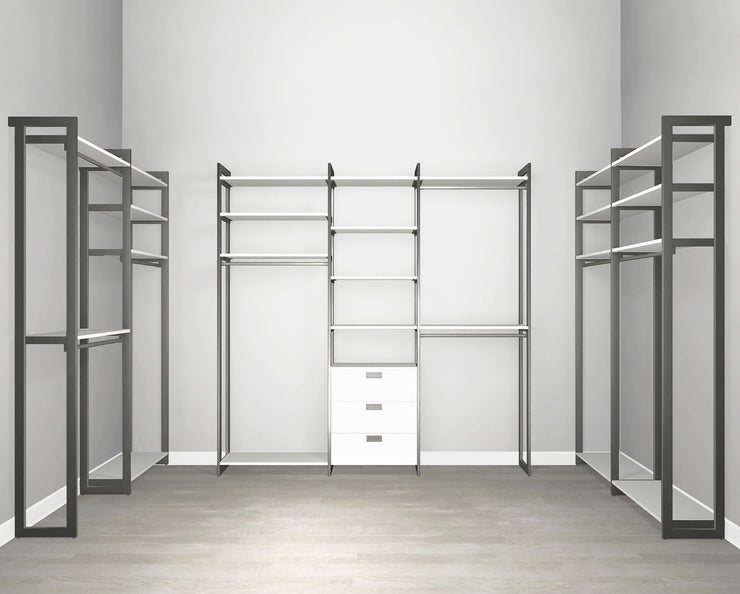 Everyday Walk In 3 Drawer & Hanging in Perry St. White Woodgrain with Graphite Metal | California Closets