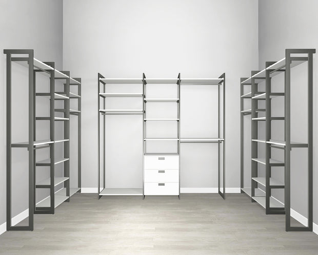 Everyday Walk In 3 Drawer, Hanging & Storage in Perry St. White Woodgrain with Graphite Metal | California Closets