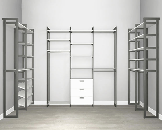 Everyday Walk In 3 Drawer & Shoe Storage in Perry St. White Woodgrain with Graphite Metal | California Closets