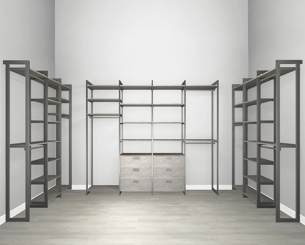 Everyday Walk In 6 Drawer, Hanging & Storage in Bedford Grey Woodgrain with Graphite Metal | California Closets