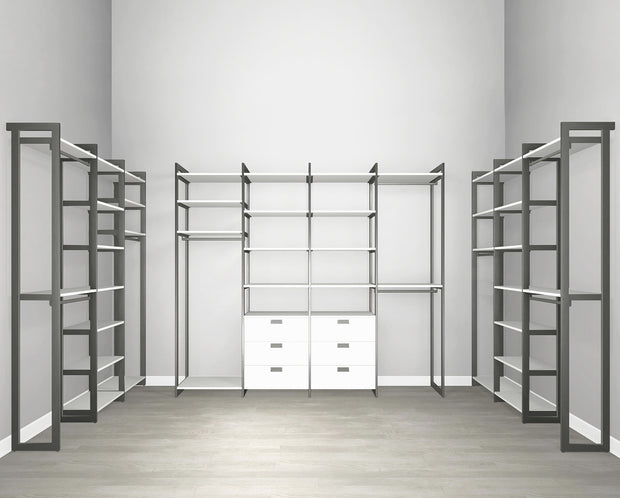 Everyday Walk In 6 Drawer, Hanging & Storage in Perry St. White Woodgrain with Graphite Metal | California Closets