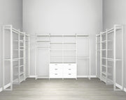 Everyday Walk In 6 Drawer, Hanging & Storage in Perry St. White Woodgrain with White Metal | California Closets