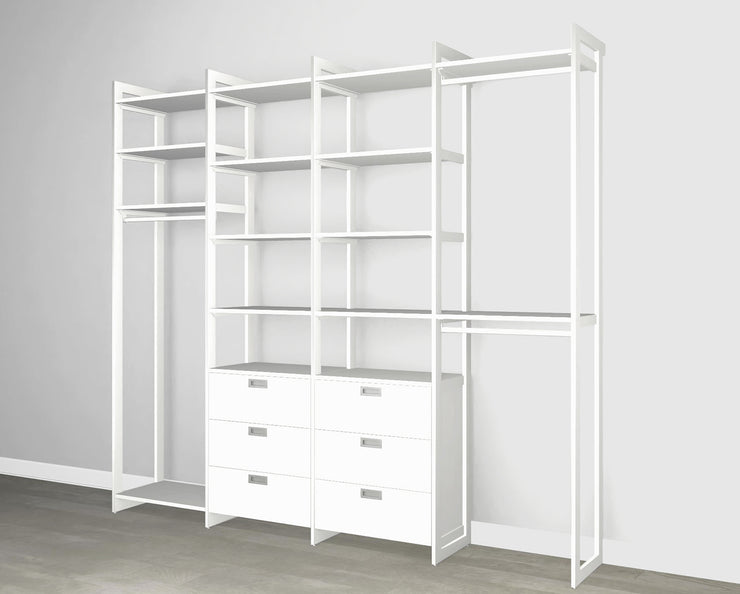 Everyday 8ft Hanging & 6 Drawer Cabinet System in Perry St. White Woodgrain with White Metal | California Closets