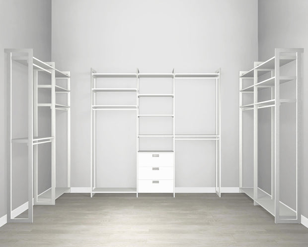 Everyday Walk In 3 Drawer & Hanging in Perry St. White Woodgrain with White Metal | California Closets