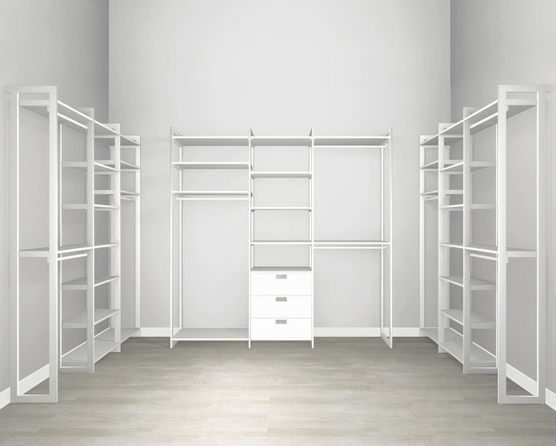 Everyday Walk In 3 Drawer, Hanging & Storage in Perry St. White Woodgrain with White Metal | California Closets