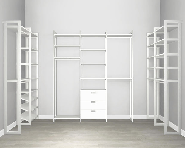 Everyday Walk In 3 Drawer & Shoe Storage in Perry St. White Woodgrain with White Metal | California Closets
