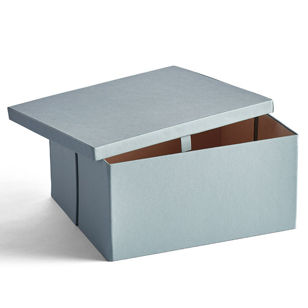 Park Premium Leather Storage Box in Ice Blue Finish Open Top