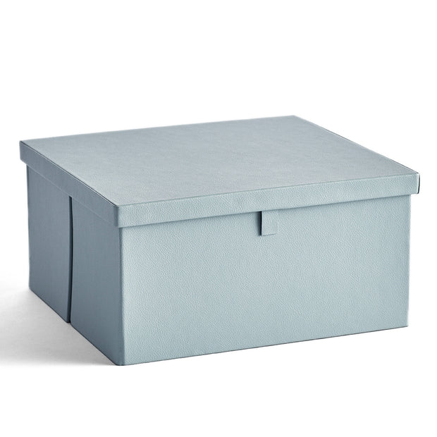 Park Premium Leather Storage Box in Ice Blue Finish