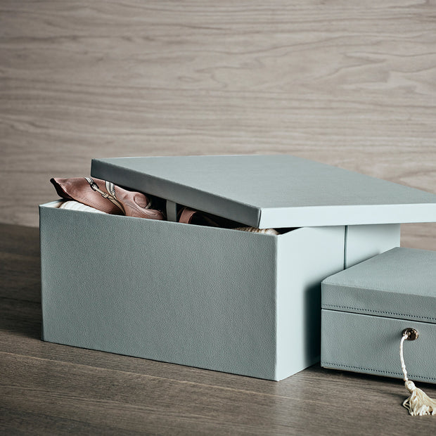 Park Premium Leather Storage Box in Ice Blue Finish in Closet System