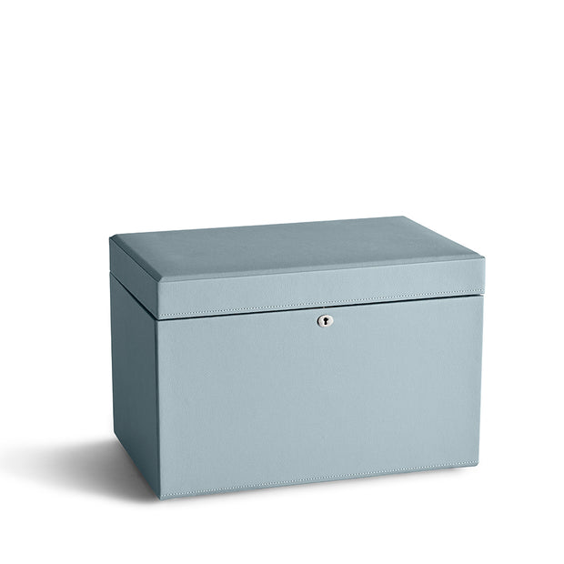 Large Park Jewelry Case in Ice Blue Finish Closed Top