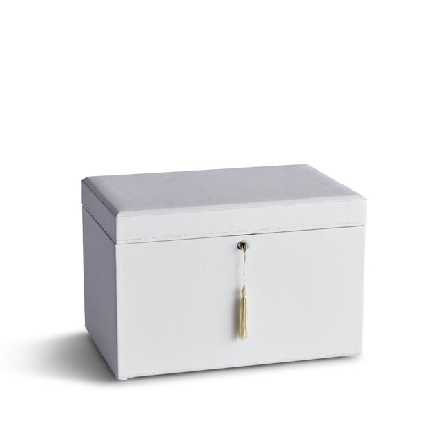 Large Park Jewelry Case in White Finish Closed Top