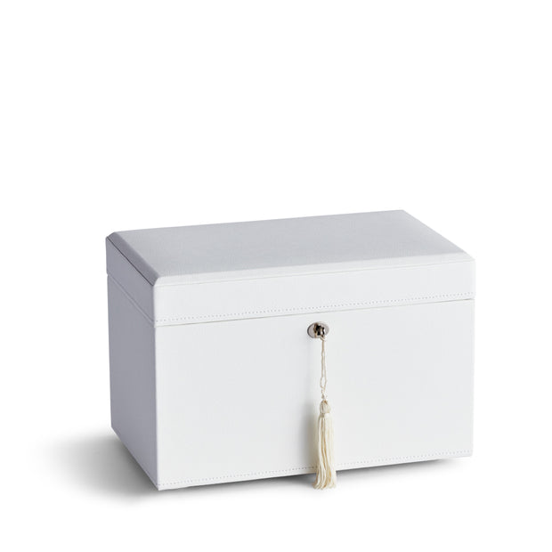 Medium Park Jewelry Case in White Finish Closed Top