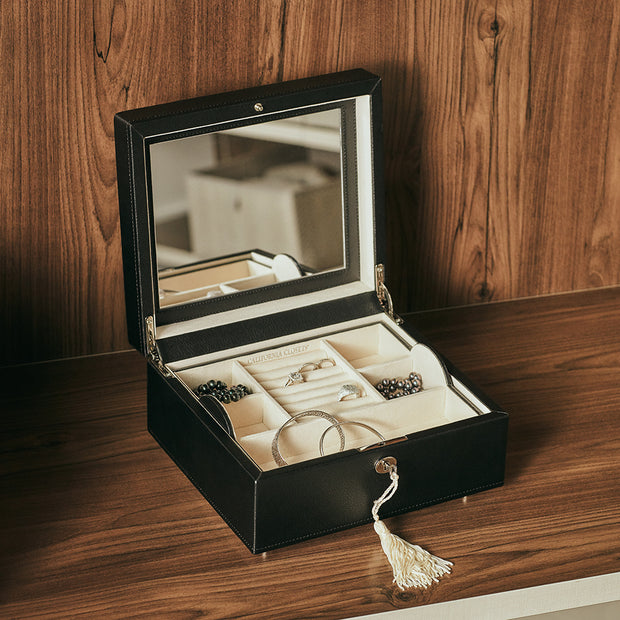 Square Park Jewelry Case in Black Finish in Closet System