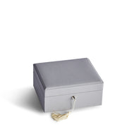 Square Park Jewelry Case in Dove Grey Finish Closed Top