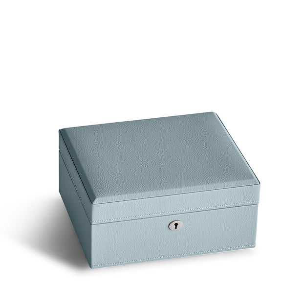 Square Park Jewelry Case in Ice Blue Finish Closed Top
