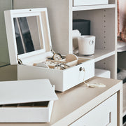 Square Park Jewelry Case in White Finish in Closet System